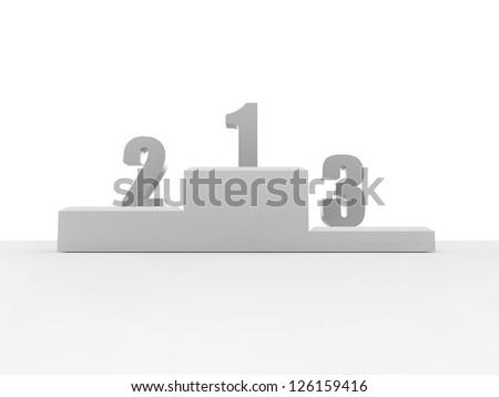 Winner stage on white background