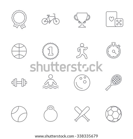 Winners and sport icons. Winner cup, medal award and first place emblem. Bike, playing card with dice and runner. Fitness dumbbell, basketball, football and bowling balls. Outline line icons.