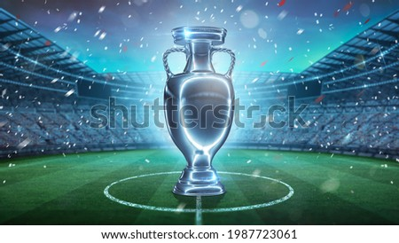 Winners cup in stadium 3d rendering. Silver cup concept. Football stadium with champion trophy on the grass field sport.