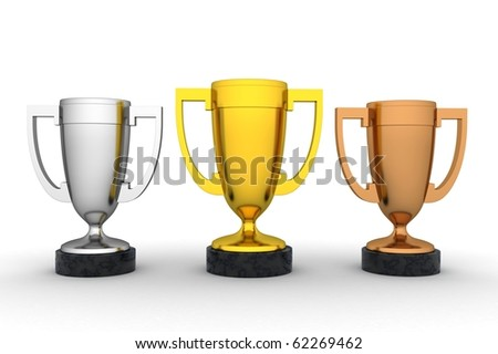 Winners cup in white background (done in 3d, isolated)