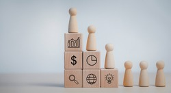 Winners figures on pedestal and losers on floor, Business hierarchy, ranking, wooden doll woman walking up stack cubs wood with Action plan, Goal and new target, success and business target concept,