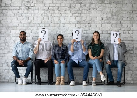 Winners of contest. Happy smiling job applicants of different gender race being chosen on vacant places among diverse candidates, three lucky people are recruited while other seekers lost their chance Stock photo ©