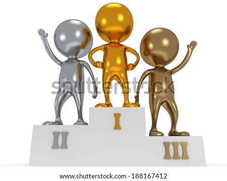 Winners on sports podium for the first second and third place isolated on white. Stylized people. Sport business concept. 3D render.