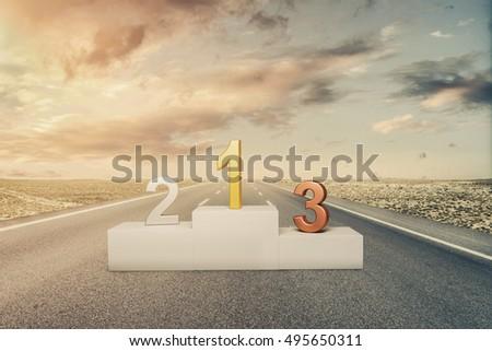 Winners podium on the asphalt road #495650311
