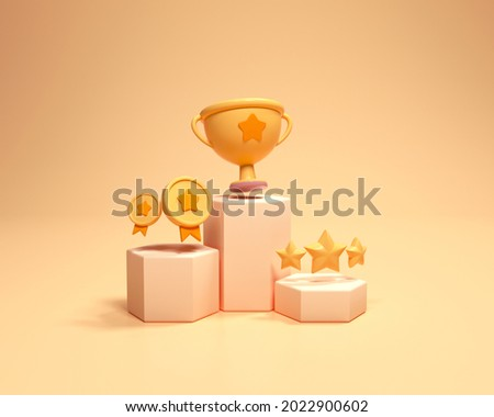 Winners podium with cups, gold winners, and gold stars. First and second and third places winning prizes on ceremony pedestal cartoon style. 3d render illustration