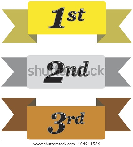Winners ribbons for first, second and third place in gold, silver and bronze isolated on white