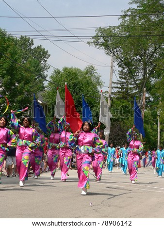 WINNETKA, ILLINOIS - JULY 4: Chicago's South Shore Drill Team marches in suburban Winnetka's Fourth of July parade on July 4, 2008 in  Winnetka, Illinois.