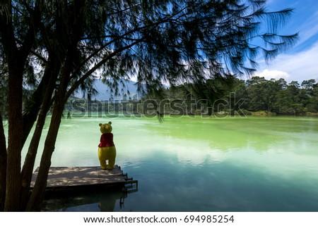 Photo of  Winnie the Pooh in telaga warna, Warna lake dieng central java