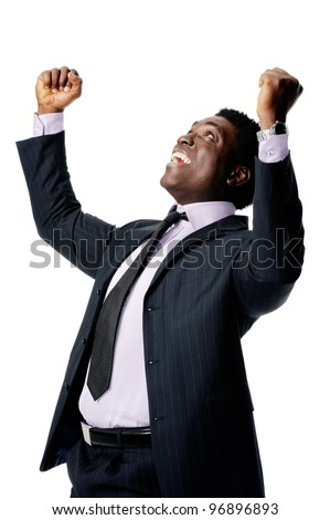 winning businessman is black and isolated on white