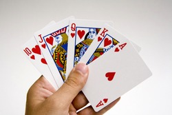 winning poker hand set against a isolated  white background