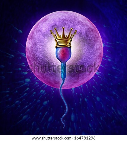Winning sperm human Fertility concept with a close up of microscopic spermatozoa cell wearing a gold crown as the winner to fertilize a female egg cell for as a pregnancy medical reproduction symbol.
