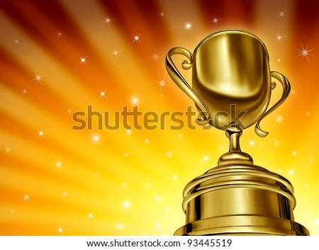 Winning success gold cup award in a dynamic perspective as a golden star burst glowing background with sparkles in sports and being a champion in a competition or tournament for best business.