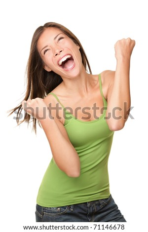 Winning success woman happy ecstatic celebrating being a winner. Dynamic energetic image of multiracial Caucasian Asian female model isolated on white background waist up. - stock photo