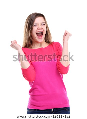 Winning success woman happy ecstatic celebrating being a winner. Dynamic energetic image of  female model isolated on white background waist up.