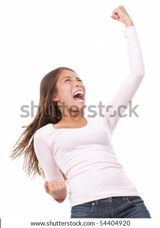 Winning success woman in full length cheering and screaming of joy. Casual young mixed race chinese / caucasian isolated on white background.