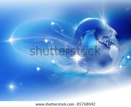 winter abstract background with the planet and stars