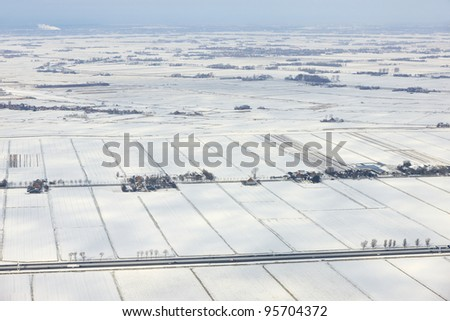 Winter aerial view of typical Dutch agricultural landscape, Netherlands