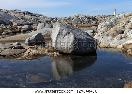 Winter along an isolated rocky coastline - stock photo