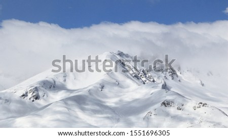Winter Alps - Massif des Cerces mountain range in Rhone-Alpes region of France. European snow. #1551696305