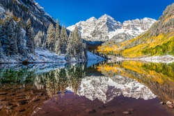 winter and fall foliage at Maroon Bells, Aspen, Colorado