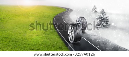 Winter and summer tires on the road