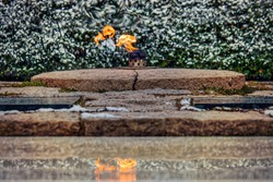Winter and the Eternal Flame at John F. Kennedy's grave in Arlington National Cemetery.