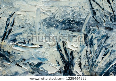 Winter art painting abstract. beautiful snow winter forest