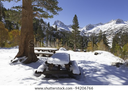 Winter at a picnic area in Sierra Nevada mountains, California