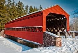 Winter At Sachs Covered Bridge, Gettysburg, Pennsylvania USA