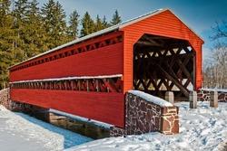 Winter at Sachs Covered Bridge, in Gettysburg, Pennsylvania.