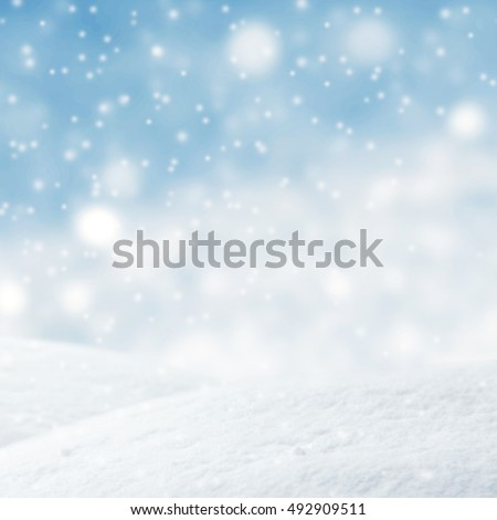 Winter background, Abstract blue lights Christmas background with falling snowflakes, copy space. For a greeting or message about promotions and sales. #492909511