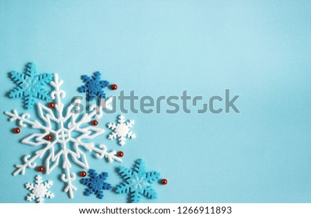 Winter background blue, snowflakes banner. #1266911893