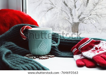 Winter background - cup with candy cane, woolen scarf and gloves on windowsill and winter scene outdoors. Still life with concept of spending winter time at cozy home with cold weather outdoors #764693563