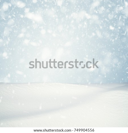 Winter background, falling snow over winter landscape with copy space #749904556