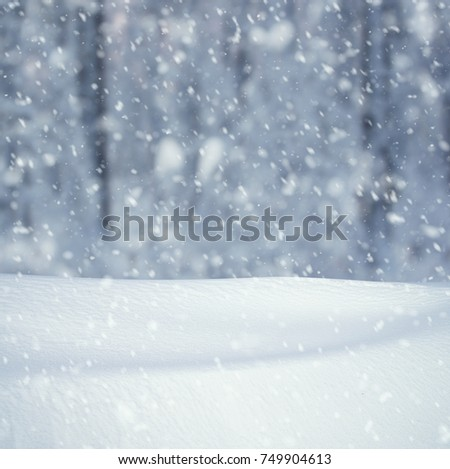 Winter background, falling snow over winter landscape with copy space #749904613
