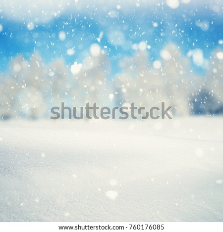 Winter background, falling snow over winter landscape with copy space #760176085