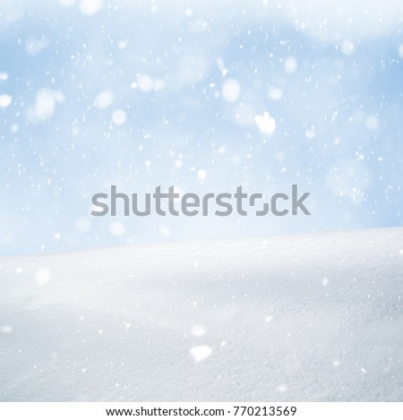 Winter background, falling snow over winter landscape with copy space #770213569