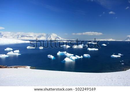 winter background Iceberg in water