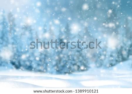 Winter background of snow and frost with free space for your decoration. Christmas background with fir trees and blurred bokeh.Winter landscape #1389910121
