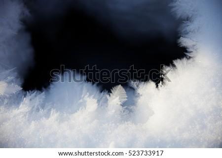 Winter background - snow flakes frozen pattern #523733917
