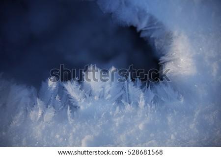 Winter background - snow flakes frozen pattern #528681568