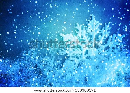 Winter background. Snowflakes on snow #530300191