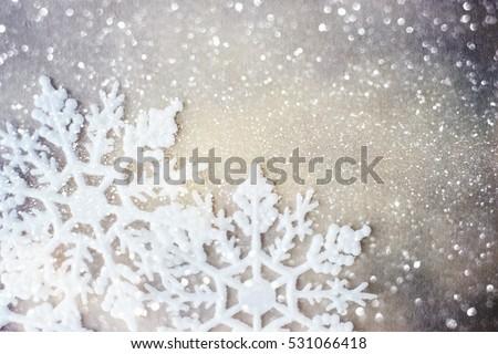 Winter background. Snowflakes on snow #531066418