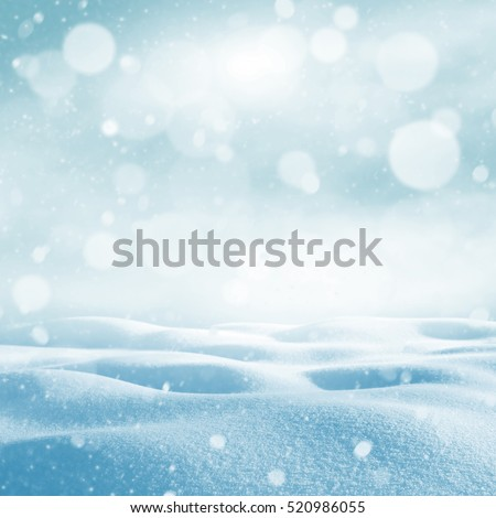Winter background. Winter bright landscape with snowdrifts and falling snow. #520986055