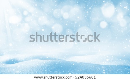 Winter background. Winter bright landscape with snowdrifts and falling snow. #524035681