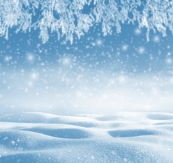 Winter background. Winter christmas landscape with snowdrifts and tree branches in hoarfrost