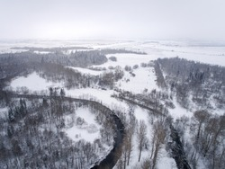 Winter background with a snow-covered forest with the captured drone. aerial photography