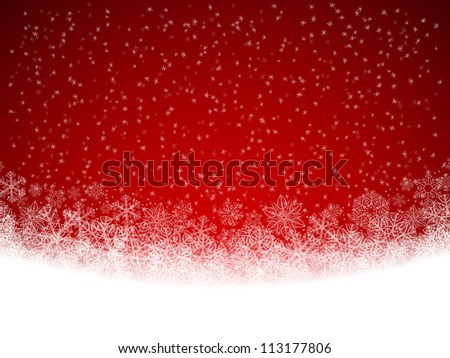 Winter background with falling snow - stock photo