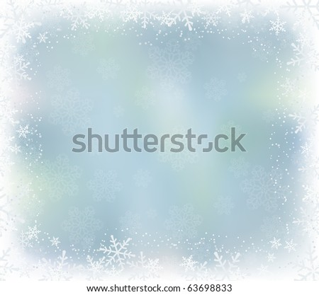 winter background with falling snowflakes - stock photo