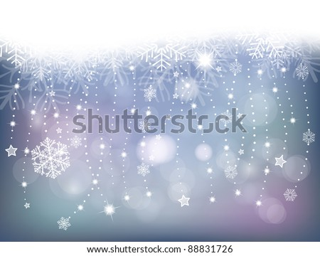 winter background with garlands, snowflakes, stars and lights